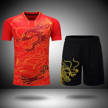 Bezpłatne drukowanie chiński smok zestawy do tenisa stołowego mężczyźni lub kobiety ping pong wear Dry-Cool odzież tenisowa stołowa garnitury do tenisa stołowego tanie i dobre opinie ZISURON Poliester Krótki Anty-pilling Przeciwzmarszczkowy Oddychająca Szybkie suche Dzianiny Koszule Shirts+shorts Table Tennis