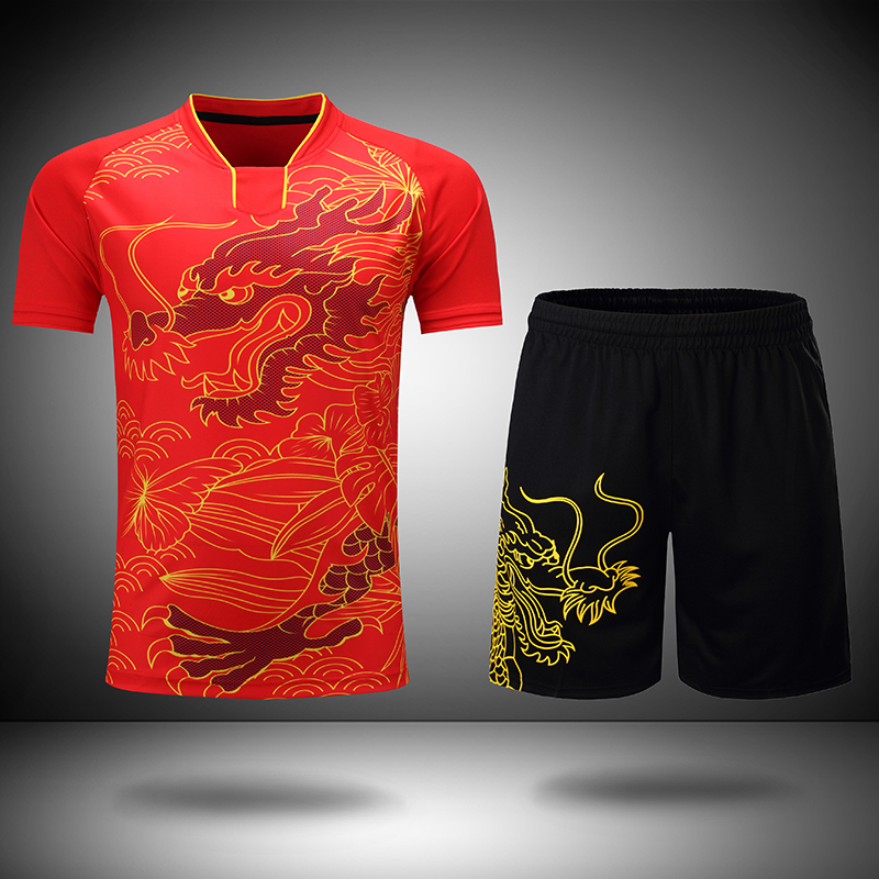 Free Printing CHINA Dragon table tennis sets Men or Women , ping pong wear , Dry-Cool table tennis clothes , table tennis suits men table tennis sets dragon pattern sports training shirt short male pingpong badminton suit