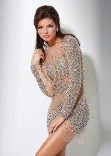 Sexy Langarm Luxus Cocktailkleider 2015 Mode Perlen Kristall Durchsichtig Short Prom Dresses
