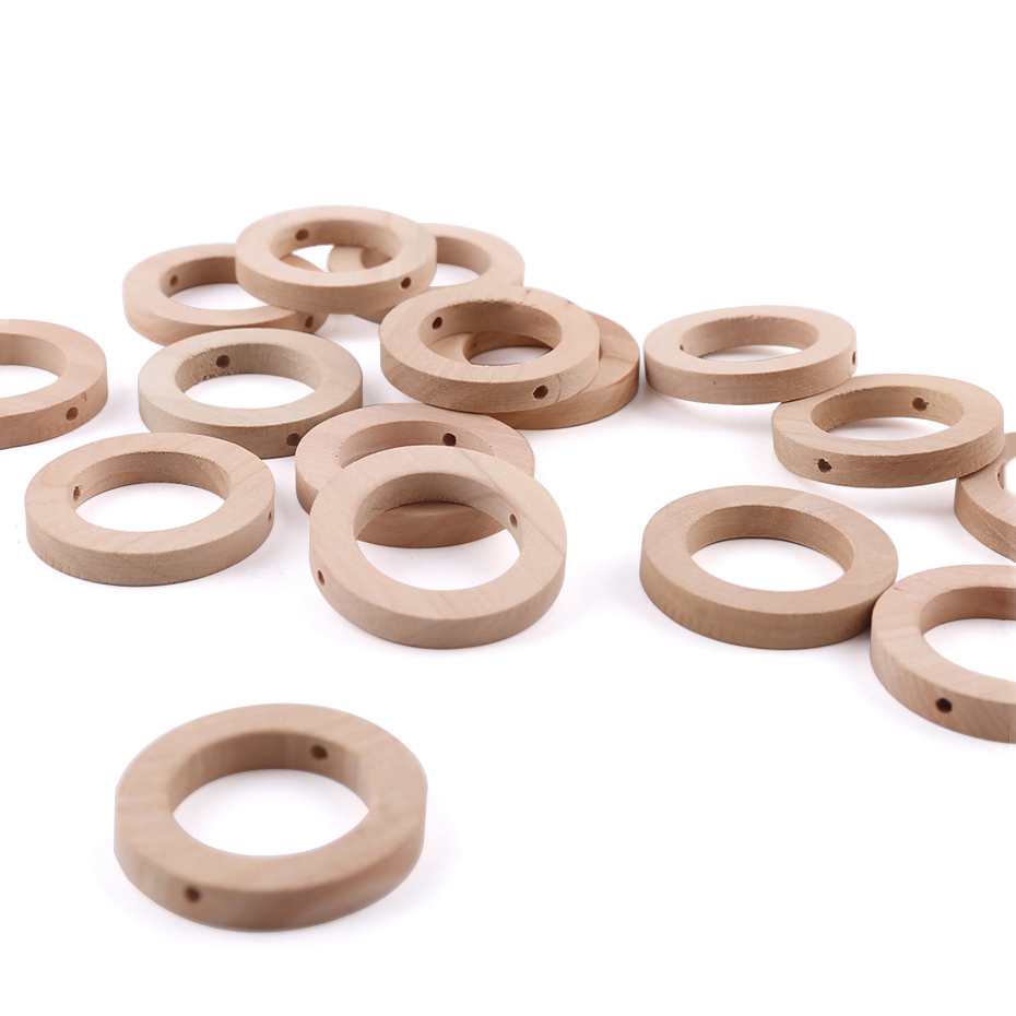 50PCS 25*8MM Food Grade Wood Teether DIY Making Ring With Hole Wooden Unfinished Crafts Accessories Chew Teething Smooth Ring
