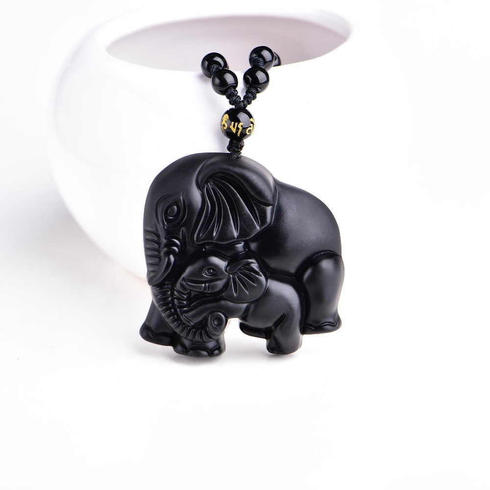 Chinese Handwork Natural Black Obsidian Carved Mother Baby Cute Elephant Amulet Lucky Pendant Necklace Fashion Jewelry