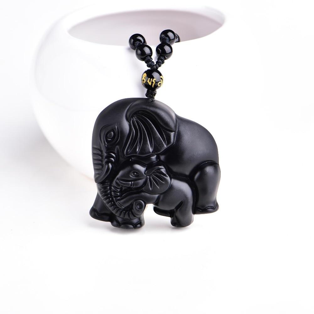 Chinesische Handarbeit Natürliche Schwarze Obsidian Geschnitzt Mutter Baby Niedlich Elephant Amulett Glück Anhänger Halskette Modeschmuck