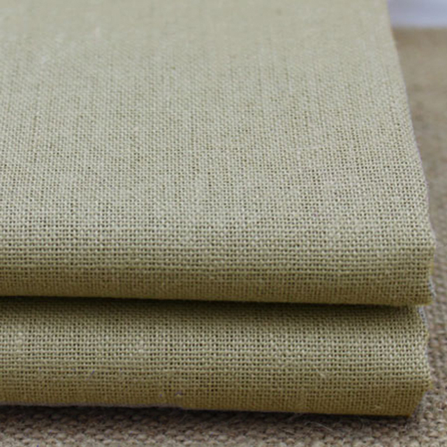 100 140cm Khaki Flax Linen Cotton Material Sewing Z Table Cloth Upholstery Fabric