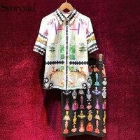 Svoryxiu Women's Summer Runway Skirt Suit Short Sleeve Blouse + Vintage Perfume Print Skirts Elegant Office Lady 2 Piece Set