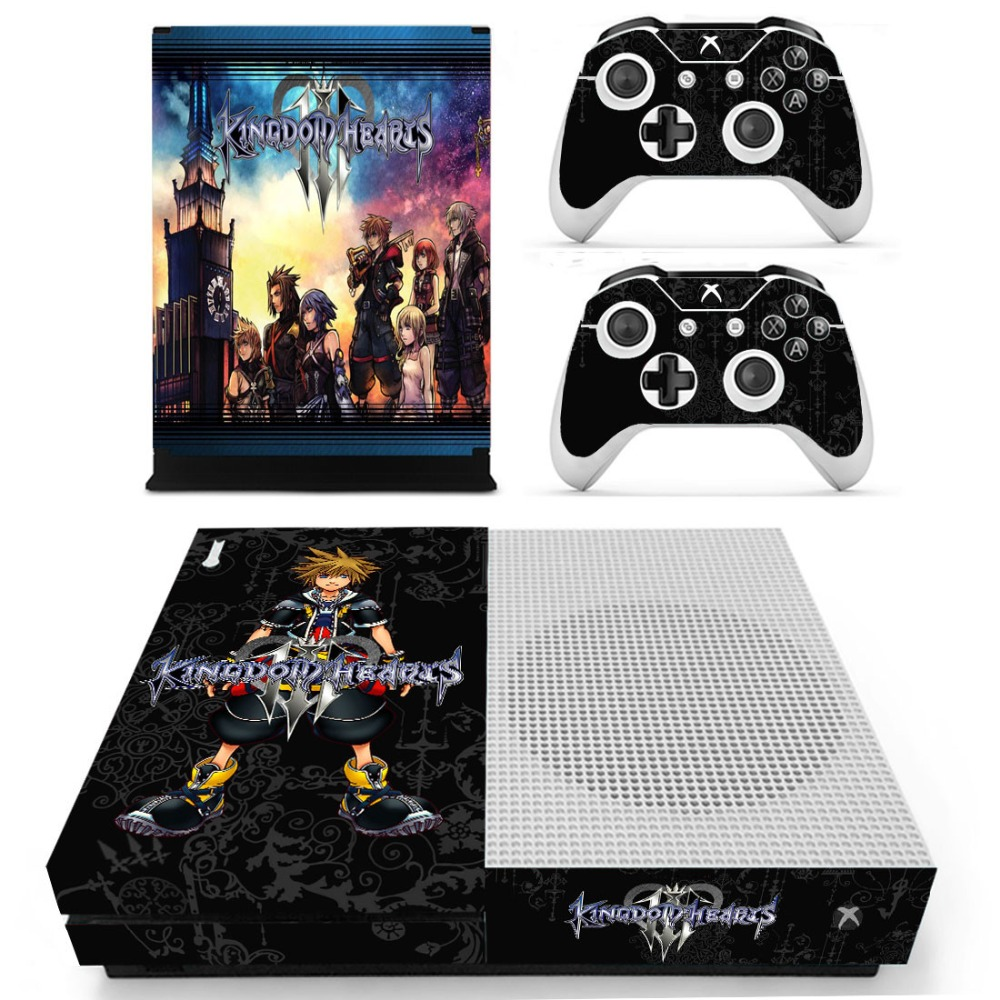Game Kingdom Hearts 3 Skin Sticker Decal For Microsoft Xbox One S Console and 2 Controllers For Xbox One Slim Skin Sticker