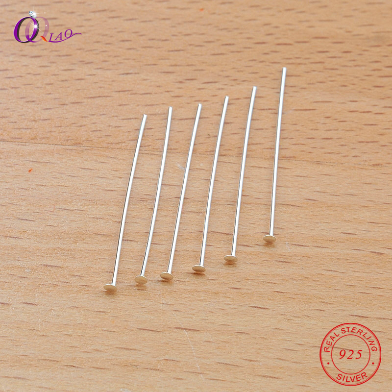 20pcs/pack 25mm 925 Sterling Silver Flat Head Pins T Shape Needle Diy Jewelry Accessories Embellishments Supplies For Jewelry