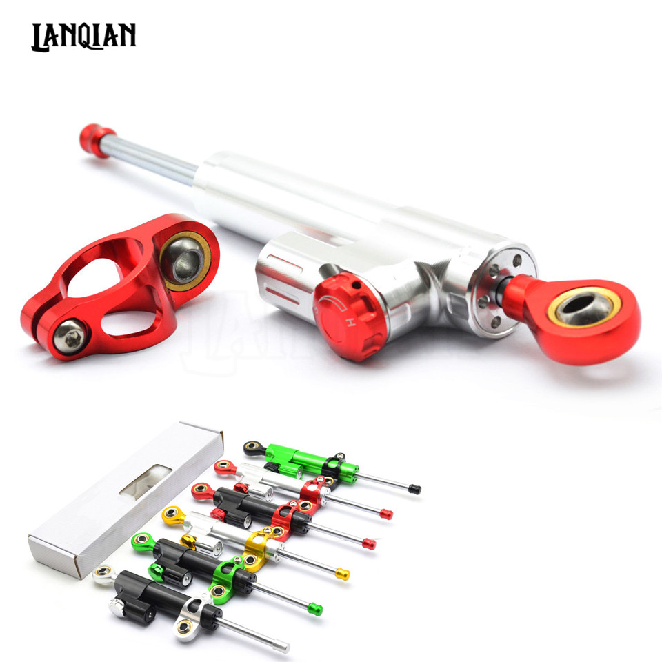 Universal Motorcycle Damper Steering Stabilizer Moto Linear Safety Control For YAMAHA YZF R1 R6 R25 R15 R125 R1S 600R R6S R3 R1M universal motorcycle cnc damper steering stabilizer linear reversed safety control for yamaha fz6 r6 fz1 r1 ybr 125 r25 xj6 r25