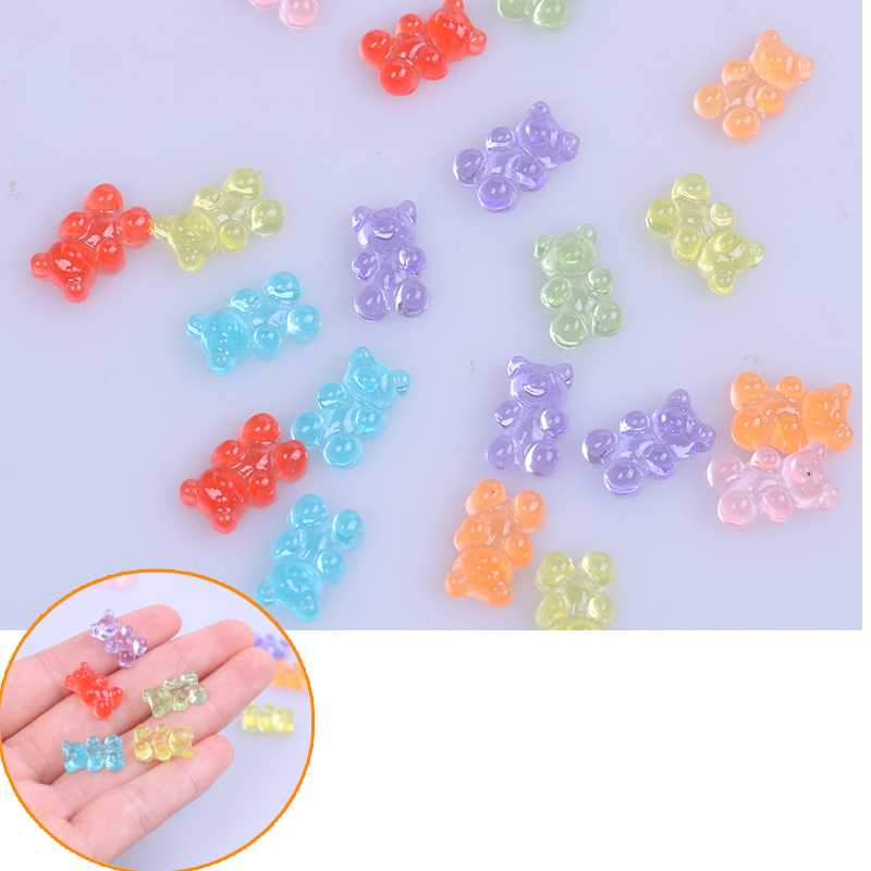 10Pcs DIY Kit Accessories Kids Plasticin Gift Simulated Bear Candy Polymer Slime Box Toy For Children Charms Lizun Modeling Clay