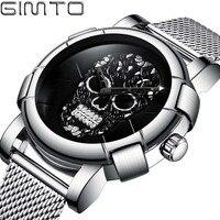 GIMTO Creative Skull Men Watch Casual Clock Relogio Masculino Luxury Brand Gold Black Sport Male Wrist