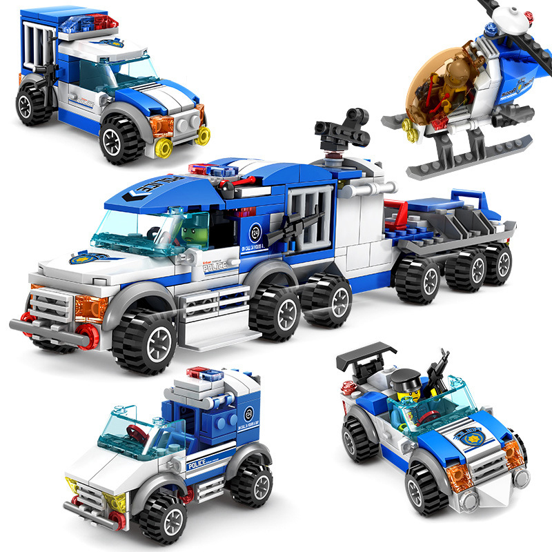 KAZI 67252 CITY POLICE 4IN1 Building Block educational toys Compatible with famous brand brick heads toys for children