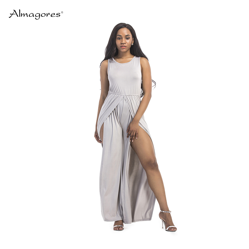 Almagores Women Jumpsuits Plus Size 3XL Full Length Straight Casual Sexy Elegant 2018 New Loose Women Romper Overalls Sexy Split