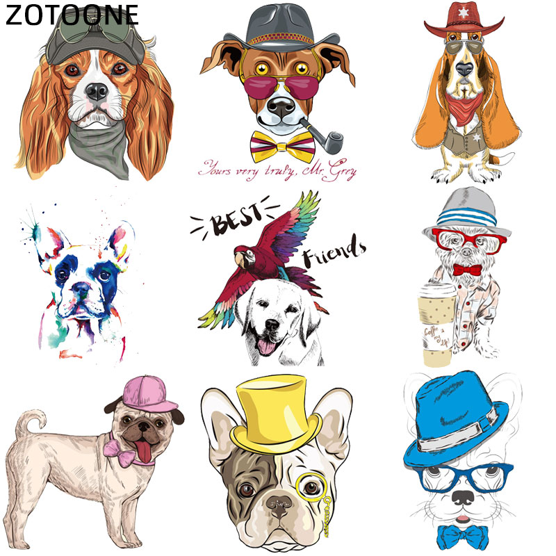 ZOTOONE Cute Dog Cartoon Iron On Patch For Kids Clothes Sticker DIY Animal Thermal Heat Applique Transfer For T-shirt Printed G