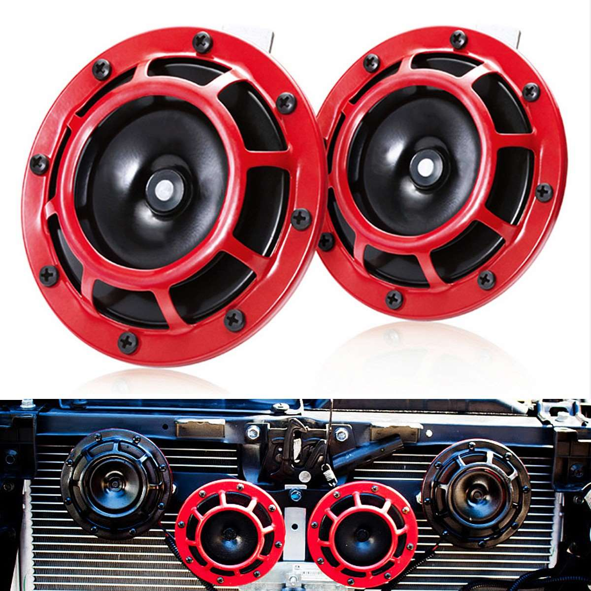 2 Pcs Universal Grille Mount Super Tone Loud 12V Compact Electric Red Horn Kit