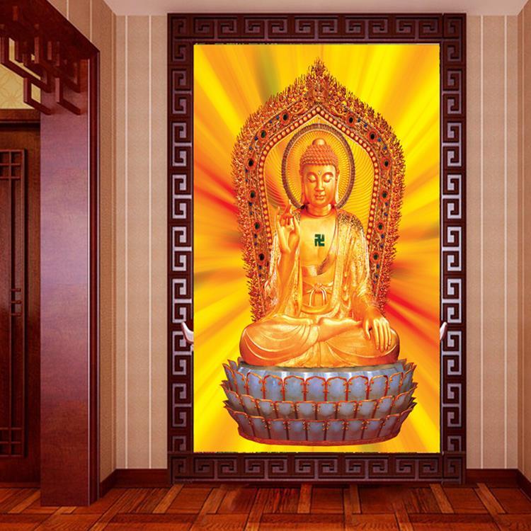 Online buy wholesale buddha wallpaper from china buddha for Buddha mural wallpaper