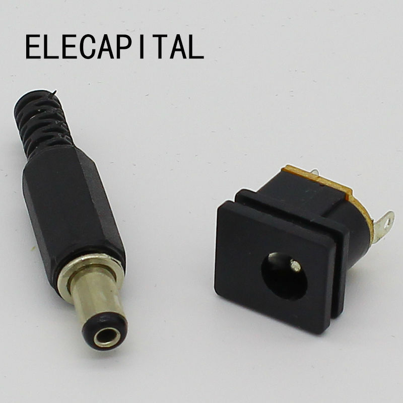 5.5X2.1mm DC Power Female Plug Jack + Male Plug Jack Socket Adapter
