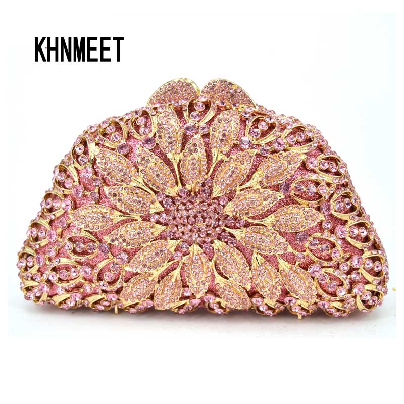 LaiSC Newest Red Luxury Diamond Crystal Evening Bag Flower Clutch Party Purse for Wedding Dinner Bag
