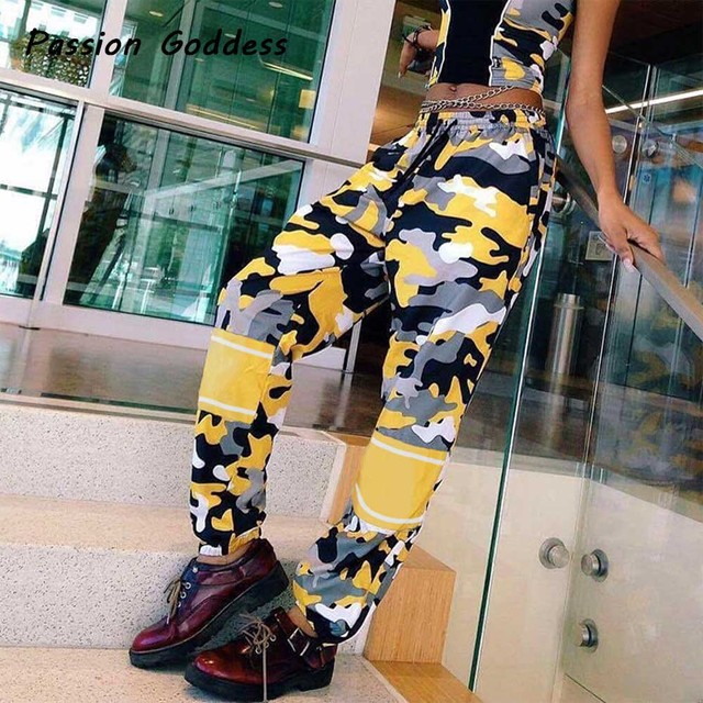 59dcd928 2018Fashion Women Military Patchwork Camo Cargo Pants Casual Punk  Camouflage Harem Trousers Outfits Femme Baggy Trouser