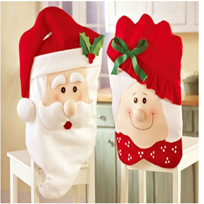 2 Pcs Set Christmas Supplies Dining Chair Covers Mr And Mrs Danta Claus Hats Red