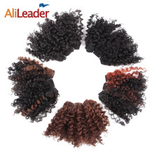 AliLeader Afro Kinky Curly Synthetic Weave 6 Pcs/Lot Bloom Curl Black Short Hair Weaving 5 Inch 20 G/Piece(China)