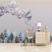 Modern three-dimensional hand-painted orchid lily forest elk professional production wallpaper mural custom photo