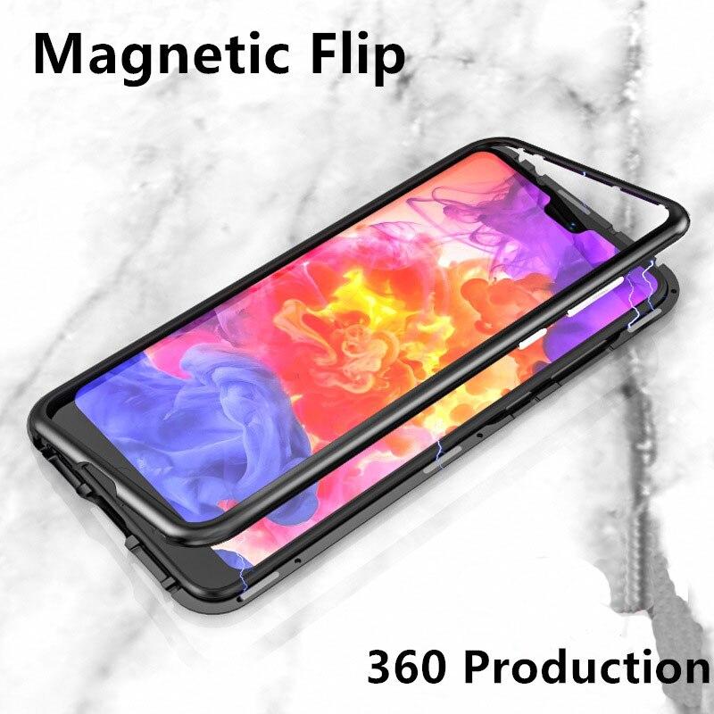 Métal Magnétique Adsorption Cas Pour iphone x 7 8 Plus Trempé Verre Aimant Cas Pour Samsung Galaxy S8 S9 Plus note 8 Ultra Couverture
