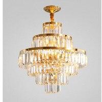 Modern Nordic Vintage Gold Brass Lamp Bronze D45cm Copper Pendant Lamp Bedroom Restaurant K9 Crystal Hanging Lamp Pendant Lights