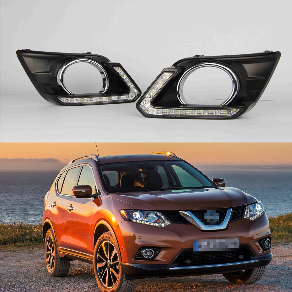 1 Set LED DRL Daytime Running Light Daylight fog lamp With Yellow turn Signal lights for NISSAN X-TRAIL 2014-2016 led drl daytime running fog lights with pole for bmw 5 series f10 10 m tech m technik daylight fog led head lamp