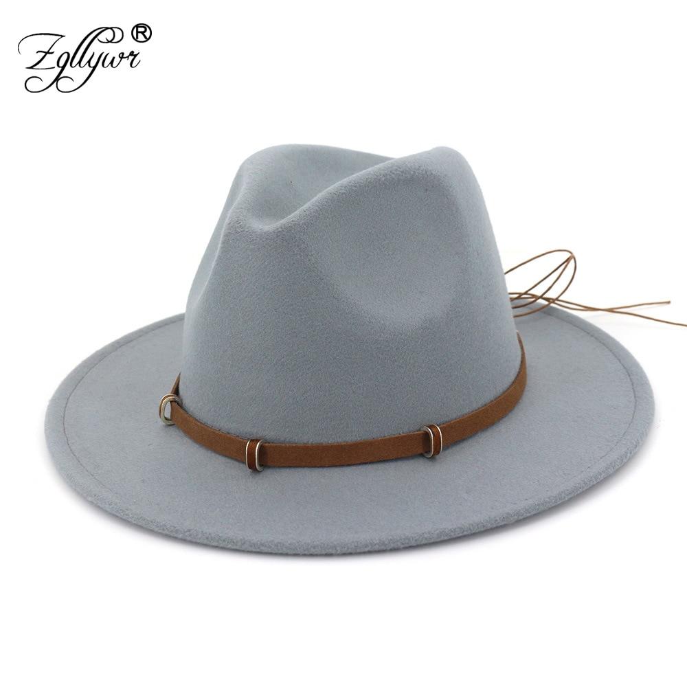 60ea105c0287f Zgllywr Wool Women Men Felt Fedora Hat With Tassel Bohemia Ribbon Elegant  Lady Winter Autumn Jazz