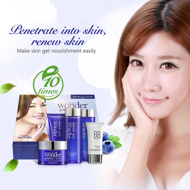 купить Blueberry miracle cosmetic set 5 pcs Gift Moisturizer oil control shrink pore skin care set face cleanser mask makeup face cream по цене 3971.61 рублей