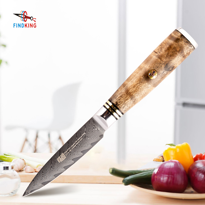 FINDKING Paring Knife Fruit-Knives Wood-Handle Damascus Steel Sapele 67-Layers AUS-10