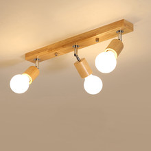 Nordic modern wooden ceiling lamp 1/3 heads wood led spotlights for living room dining room aisle corridor home lighting fixture(China)