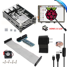 Big discount Raspberry Pi 3 Model B Ultimate Starter Kit 3.5 Inch HDMI Touch Screen LCD+9 Layers Case+ 5V 2.5A Power Supply+Cable+Fan