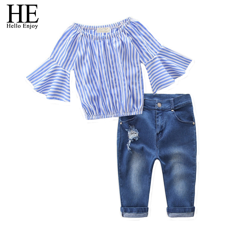 HE Hello Enjoy Girls Clothing Sets brand fashion spring autumn kids girls clothes Long sleeve stripe shirt+ripped jeans suits все цены