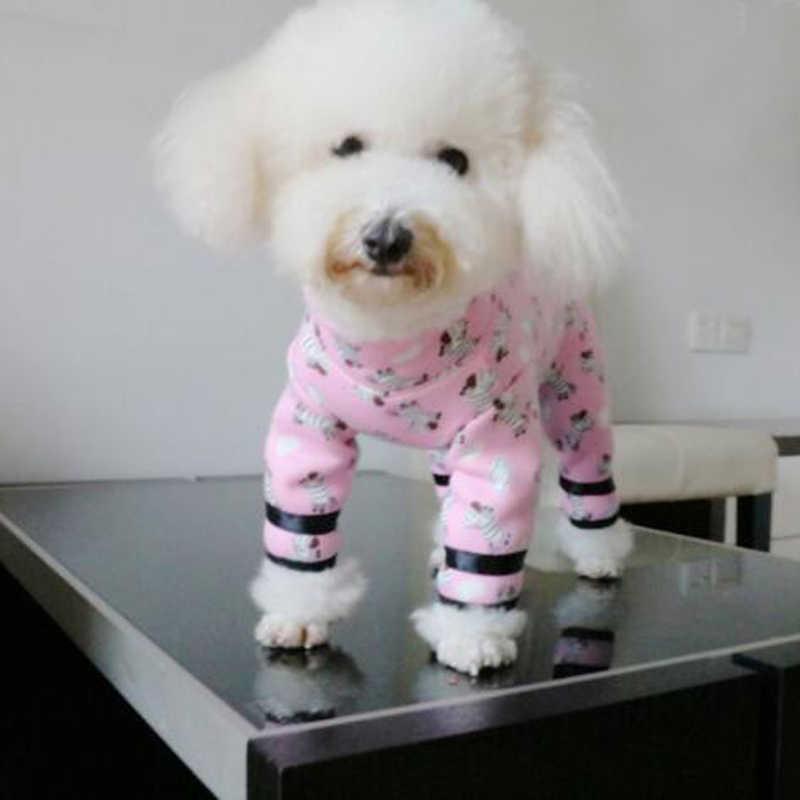 Jesień/zima Pet kombinezony dla psów Puppy Animals ubrania z nadrukiem dla małych psów piżamy Wrap Belly aksamitna kurtka w rozmiarze plus bluza