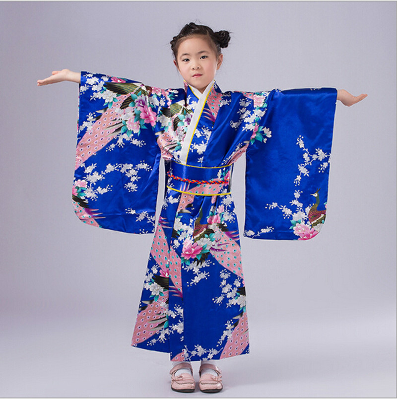 Barn Novelty Cosplay Floaral Dress Japansk Baby Girl Kimono Dress Barn Vintage Yukata Kid Girl Dance Costumes