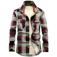 Brand Shirt Men Fleece Shirt Winter Thick Warm Camisa Masculina Pure Cotton Plaid Military Men Shirt Size M-4XL Chemise Homme