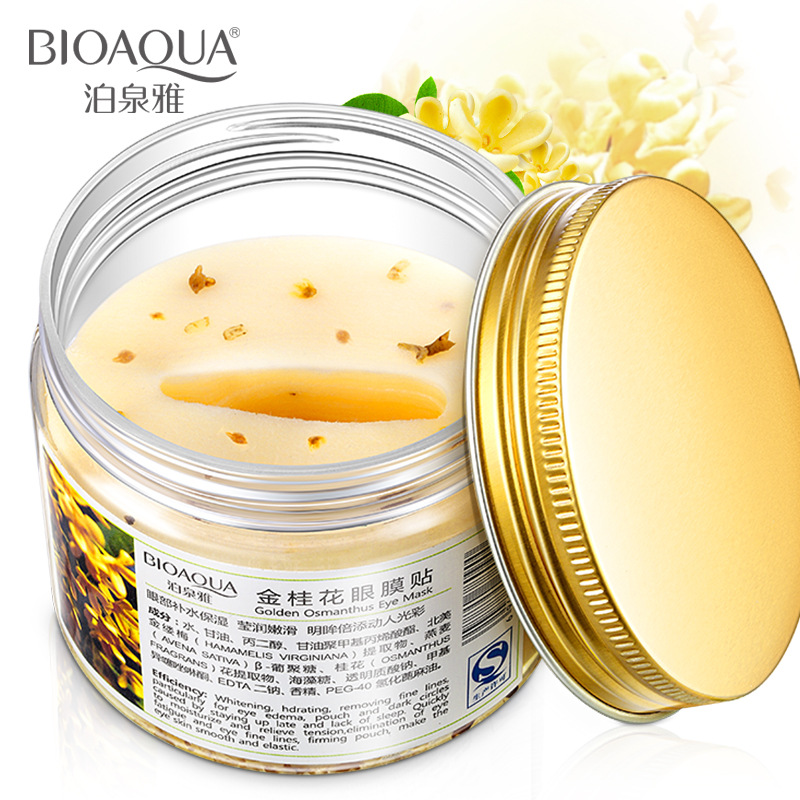 DHL 100PCS BIOAQUA Brand Eye Mask Golden Osmanthus Collagen Eye Skin Care Anti Puffiness Dark Circle Moisturizing Eyemask in Creams from Beauty Health