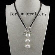 Идеальное черное кожаное ожерелье 18 дюймов белого цвета в форме яйца жемчужное ожерелье в виде ракушки для свадебной вечеринки женские ювелирные изделия в подарок