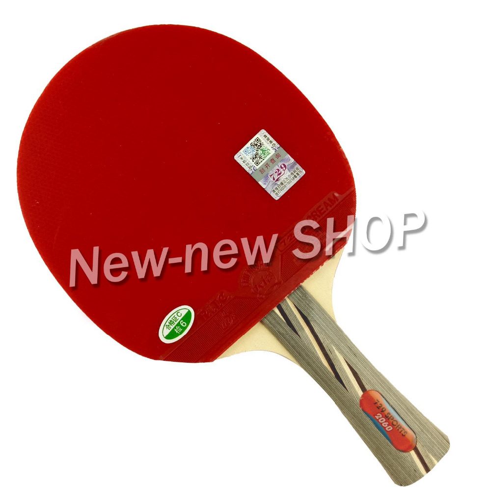 729 2060# Pips-In Table Tennis Ping Pong Racket + A Paddle Bag Shakehand Long Handle FL