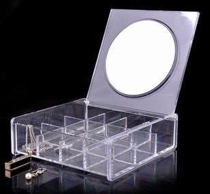 2016 Famous HOT patrón Nueva marca clásica de la manera de acrílico maquillaje mango espejo espejo de tocador portátil de alta calidad con la caja de regalo
