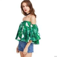 NiceMix 2019 Blusa Chemise Femme Women Summer Off Shoulder Slash Neck Short Sleeve Top Casual Ruffles Blouse green