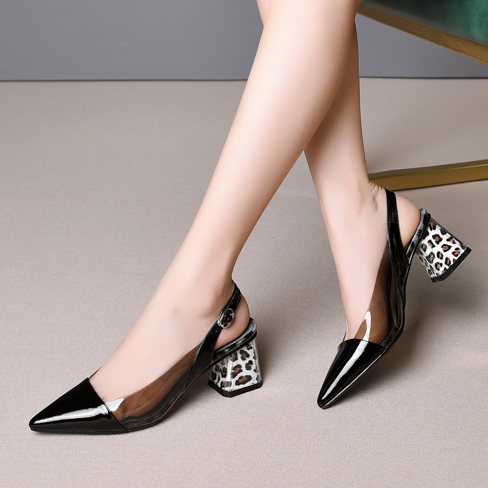 Image 5 - ANNYMOLI High Heels Women Slingbacks Shoes Natural Genuine Leather Thick High Heel Shoes Transparent Buckle Pumps Ladies Size 41Womens Pumps   -