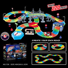 Magical Track 240PCS/Set Magical Glowing Race Tracks Set Flexible Racing track Bridge Car Toy Creative Toys Gifts For Children(China)