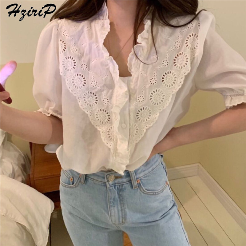 HziriP  Korea Chic Summer Casual Fresh Hollow Out Simple Elegant V-Neck Women Sexy Short Sleeves Shirt