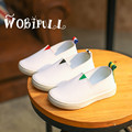 Wobipull 2017 niños de cuero de fondo plano casual shoes shoes kids sneakers boys girls sneakers estudiante blanco deportes shoes