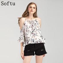 Softu nuevas mujeres atractivas camisas de la blusa del hombro con cordones Slash cuello gasa estampado floral de la llamarada manga camisas