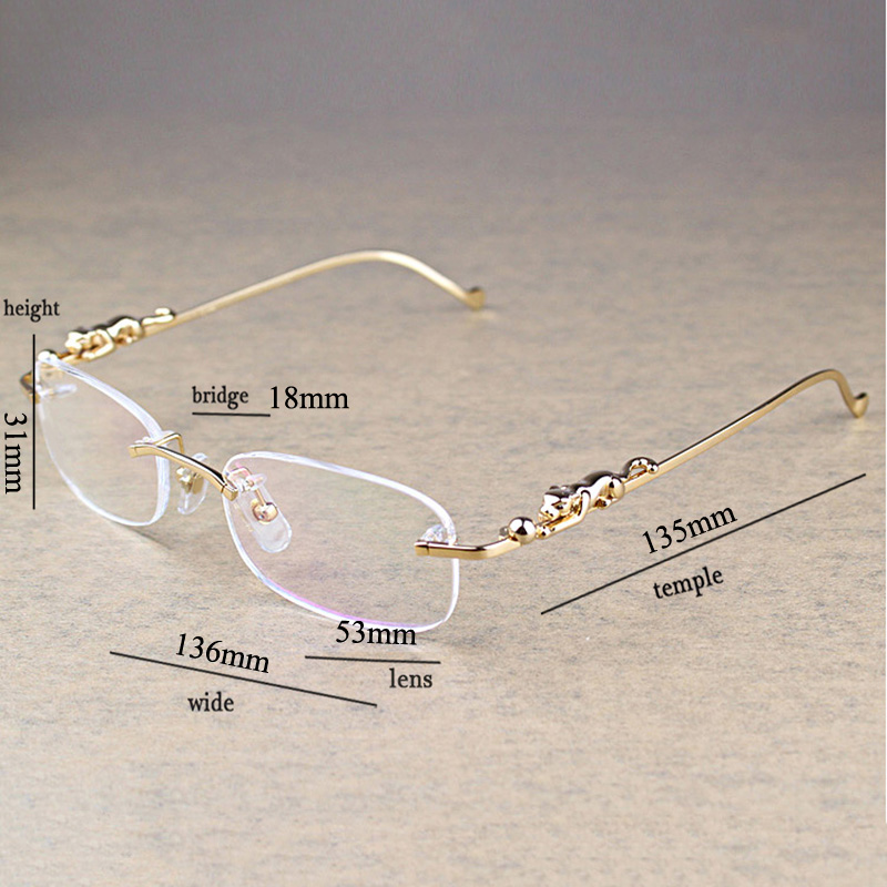 Fashion Leopard Rimless Clear Glasses Men Transparent Stone Reading Glasses Frame Luxury Eyewear Accessories Retro Oculos 086 in Men 39 s Sunglasses from Apparel Accessories