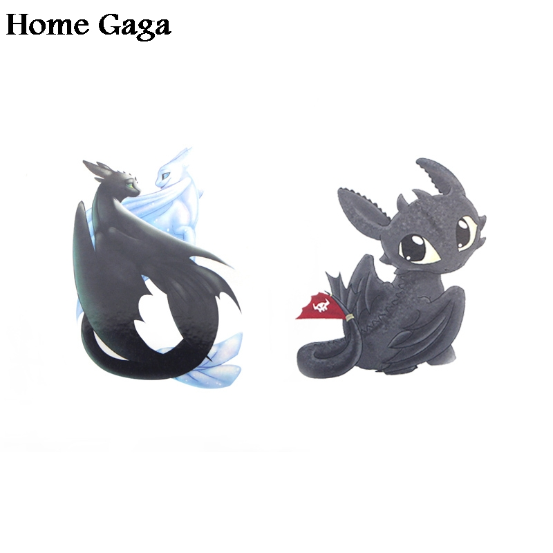 Homegaga 2pcs How to train your dragon toothless night light fury Temporary Body Art Shoulder Tattoo Sticker party cosplay D1690 in Stickers from Home Garden