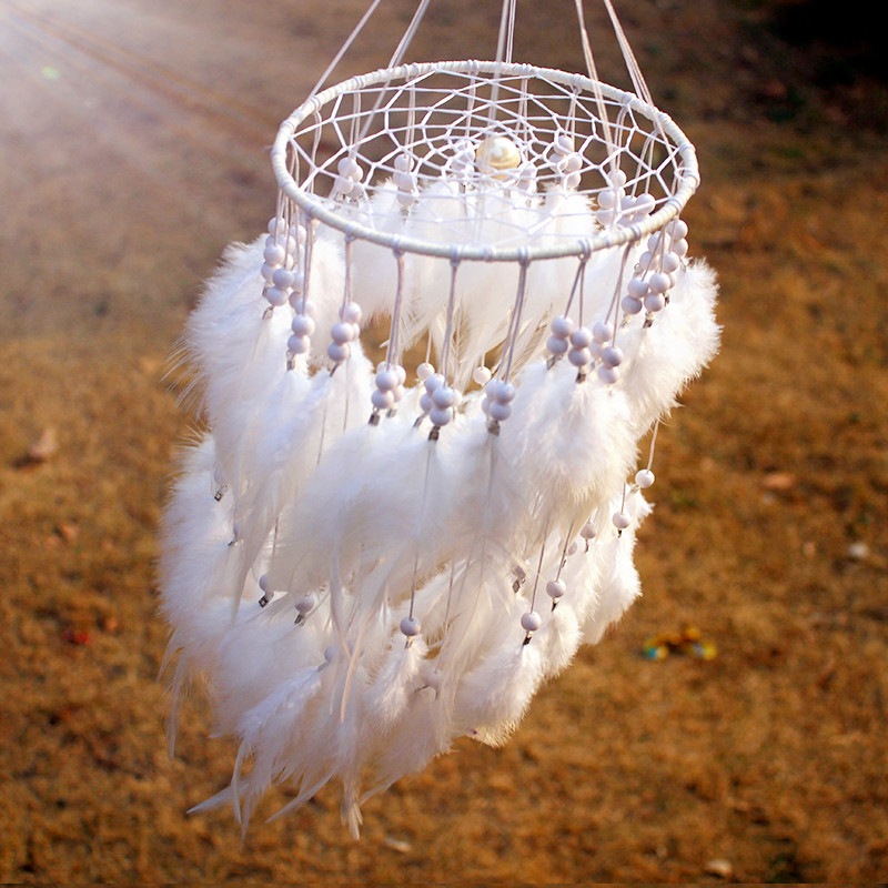 2015 New fashion originality  Hot white Feather pearl Dreamcatcher Wind Chimes Indian Style Pendant Dream Catcher Gift
