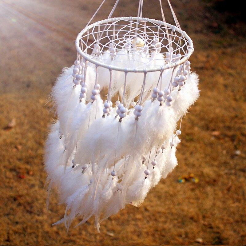 12 color nueva moda originalidad colgante Plumas perla Dreamcatcher viento carillones estilo indio colgante Dream Catcher regalo